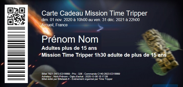 Carte cadeau Time Tripper
